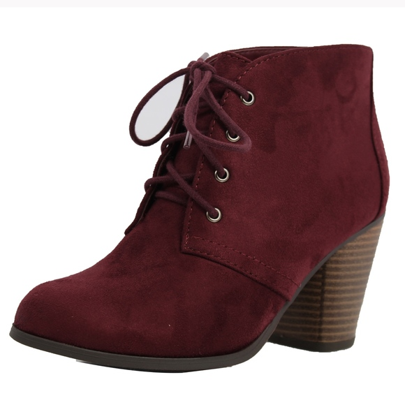 Shoes - Vino Faux Suede Lace Up Stacked Heel Ankle Boot